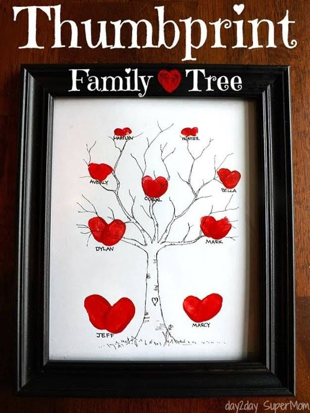HEART THUMBPRINT FAMILY TREE… I love this!! So cute…