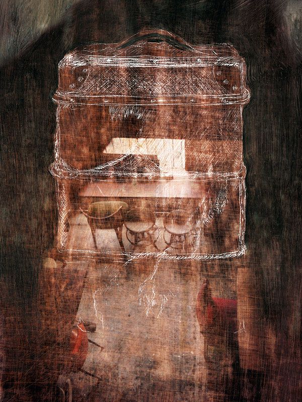 'Travelling', distressed photograph, etching and oil paint. 30x40cm. Limited edition digital print on canvas, 2015. An artwork exploring the port city of Fremantle's history and heritage. An image from Kirsten Sivyer's exhibition 'Persistence of Vision' held in Fremantle WA in May/June 2015. See the full catalogue of work at http://kirstensivyer.com/persistence-of-vision/
