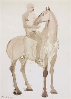 Horse and Rider - Dame Elisabeth Frink, R.A. (1930-1993) Watercolour. I seem to love drawings by sculptors especially Elisabeth Frink