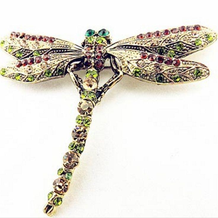2016 Nowych Moda Lato Biżuteria Akcesoria Broszka Dla Dziewczyny Vintage Piękny Dragonfly Kryształ Szal Klapy Pin Broszki Dla Kobiet