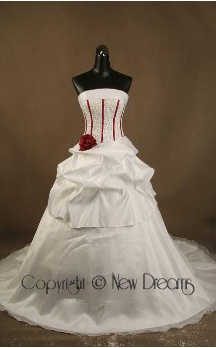 abito da sposa V2021-satin and organza red&white wedding dress