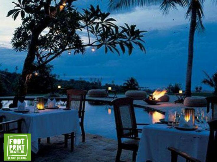 Terras van restaurant Damai, Lovina, Bali.
