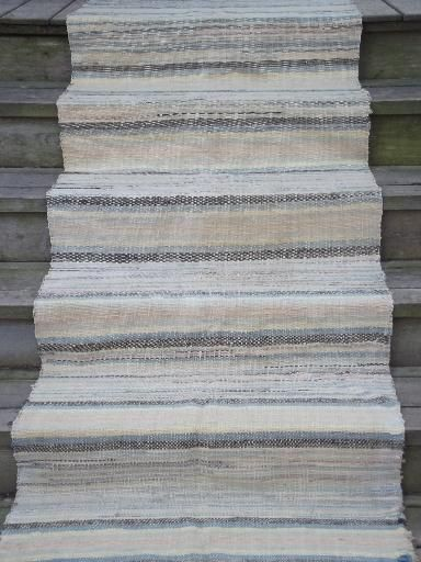 """Vintage cotton rag rug runner from an farm estate here in rural Wisconsin. This is a back stairs rug, a poor man's carpet for stairwell steps or hall. It's 34"""" wide x 164"""" long (over 12 1/2 feet long end to end)."""