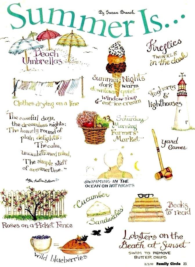 Summer is... by Susan Branch: http://beachblissliving.com/susan-branch-marthas-vineyard/