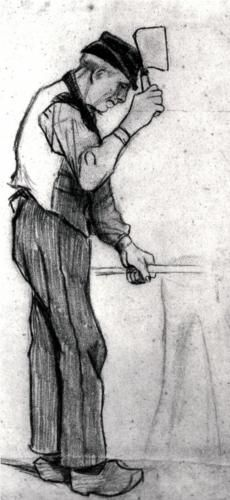 1881, Vincent van Gogh: Peasant with a Chopping Knife. Pencil and chalk.