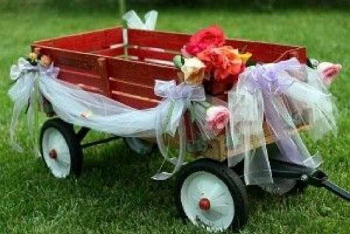 Red Wagon Decorated For Wedding