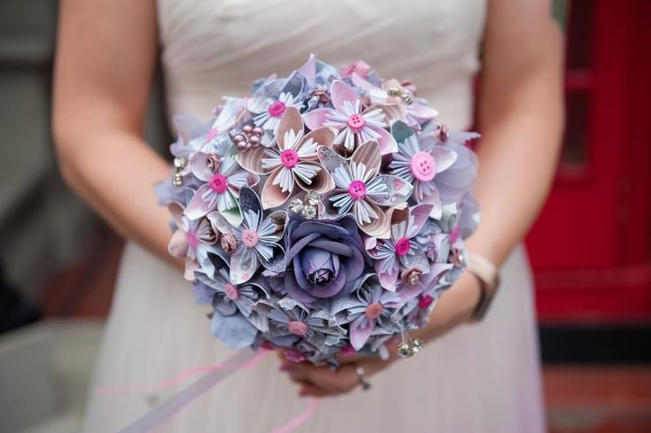 Blue, purple and pink paper flowers bouquet wedding | London wedding photography by Kat Forsyth