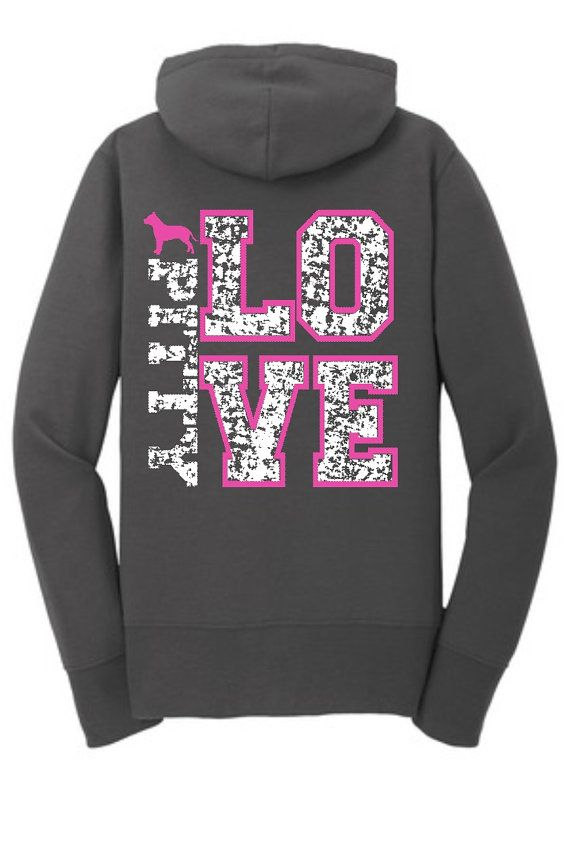 Pitbull Mom Hoodie Pitbull Hoodie Pitbull Sweatshirt Pitbull Shirt Pitbull Clothing Pitbull Baby Pitbull Coat Pitbull Fleece Pittie Mom LPC7 Pitty Love Zip up Hoodie. Distressed Prints with Neon Pink and White Ink. Front left chest with Pitbull inside a heart. Back print with Pitty Love.