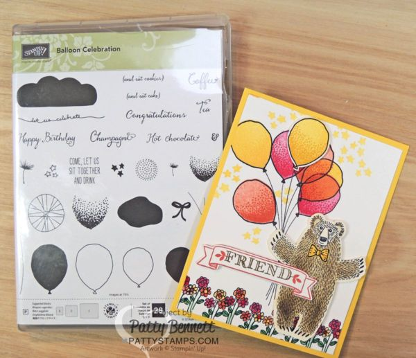 Bear Hugs card with balloon bouquet handstampd wtih 2016 Occaions catalog supplies from Stampin' Up!. Bear Hugs bundle and Balloon Celebration sets.Click Shop online at www.PattyStamps.com