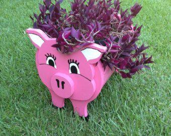 Jardinera de madera Animal - cerdo