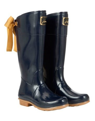 Joules Navy Wellies with a Bow