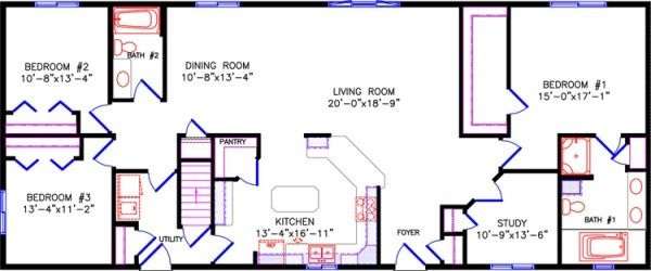 Simple one story open floor plan rectangular google for Rectangular plot house plan