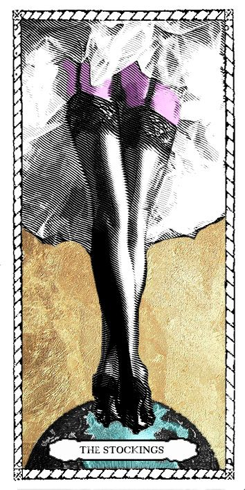 Stockings Tarot Card by Passiones Martyrum (print on special paper, watercolor, golden leaf - 9 x 18cm /3,5 x 7 inches)