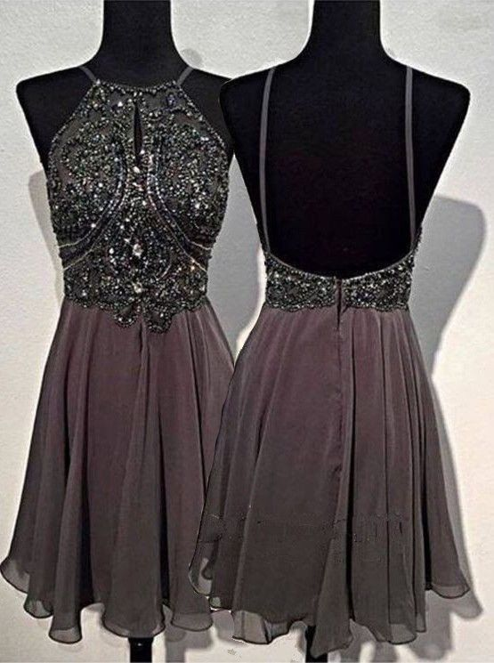 A-line Round Neck Chiffon Beaded Short Grey Backless Prom Homecoming Dress