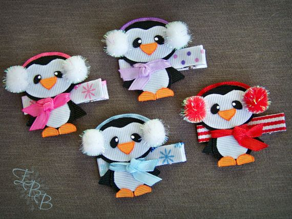 **You are buying one winter penguin hair clip, made to order** Penguins are a house favorite here. This makes a great hair accessory for big