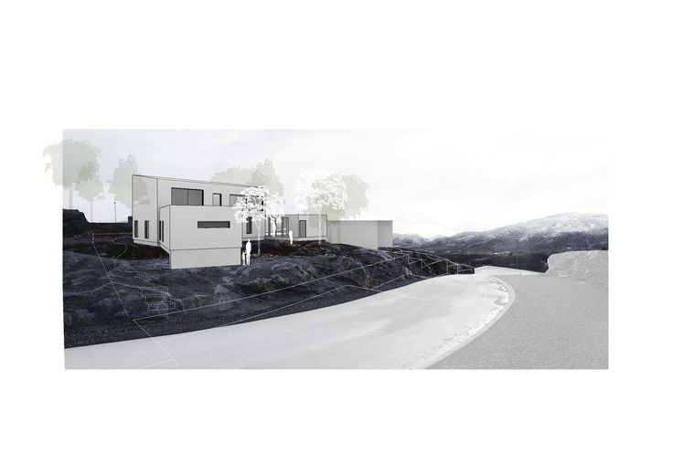 Collage + rendering // Visualization of volume model in terrain // Arkitektkontoret Brekke Helgeland Brekke