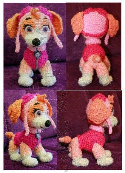 Paw Patrol Skye crochet toy pattern translation by Ambercraftstore