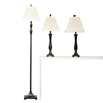 Features:  -Traditional style.  -Ivory pleated fabric shades.  -Set includes two table lamps and one floor lamp.  -Froste collection .  -Black finish.  Fixture Finish: -Black.  Fixture Material: -Meta