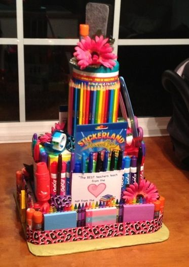 Classroom Birthday Ideas For A Teacher ~ Teacher supply cake gifts pinterest
