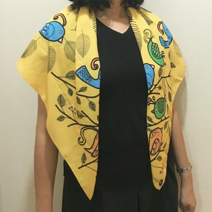 Scarf by Simply be, size 100x100 cm., Silk Satin fabric, Bird - yellow