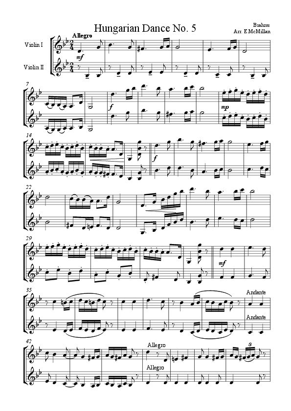 Hungarian dance no 5 piano duet pdf