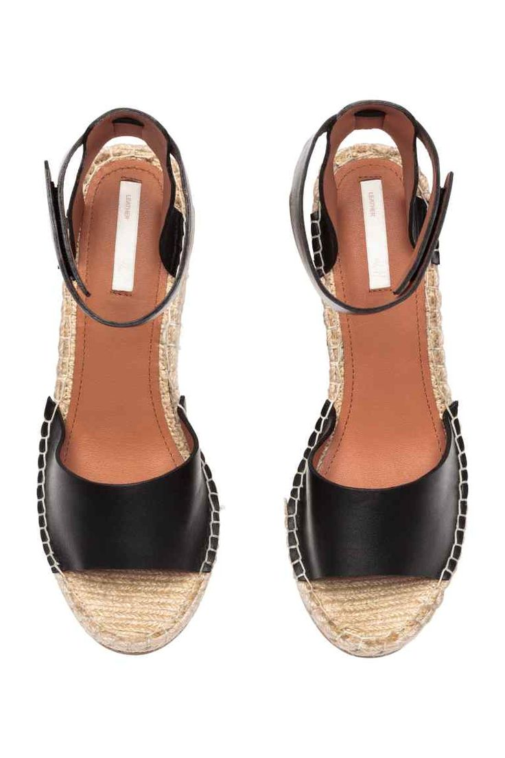 Sandales à talon compensé - Noir - FEMME   H&M FR