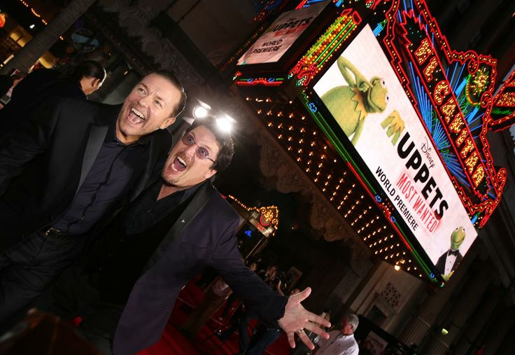 Actor/Comedian Ricky Gervais (L) and puppeteer Bill Barretta arrive at the premiere of Disney's 'Muppets Most Wanted' at the El Capitan Theatre on March 11, 2014 in Hollywood, California.