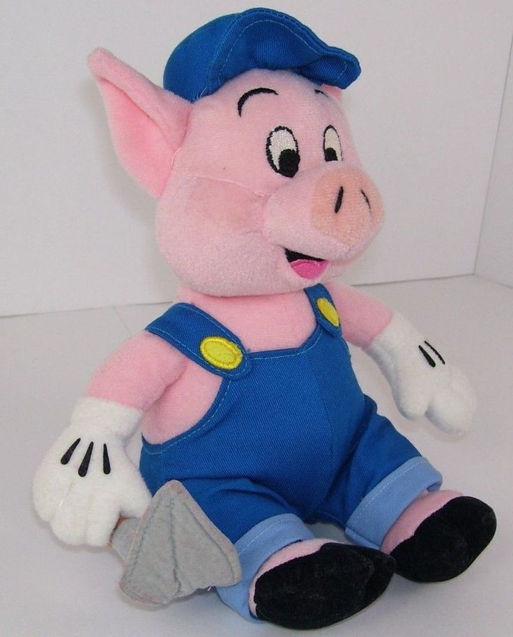 "Three Little Pigs Plush Stuffed Pig Disneys Famous Child Story 10"" Toy #Unbranded"