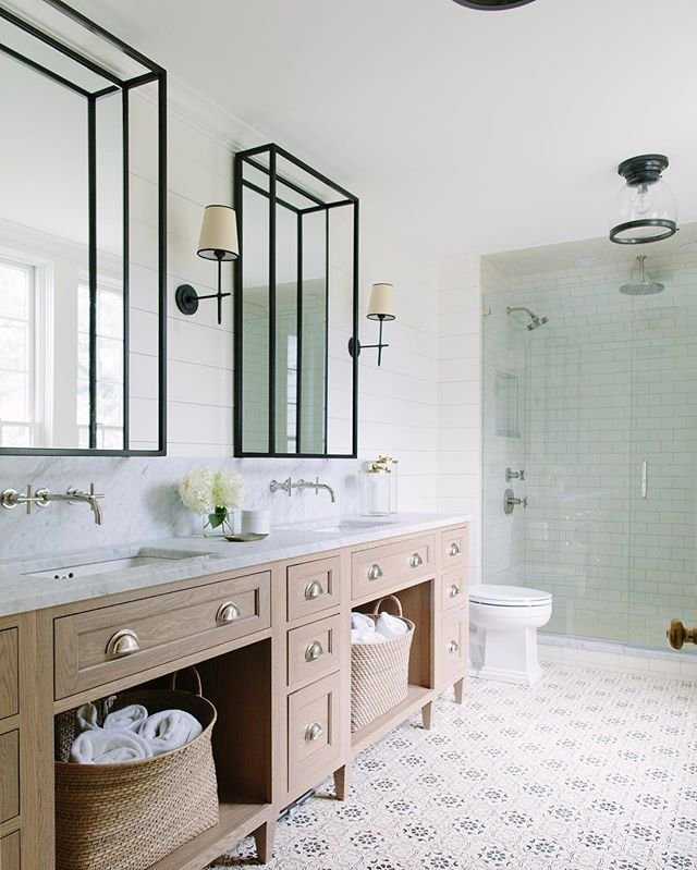 We had one of the most trusting clients in this project. A trusting client equals a really cool bathroom like this! #sopleased #thankfulforawesomeclients #favoritespot #whitefarmhouserenoclient #happyweekend #katemarkerinteriors #masterbath #bigbearconstruction