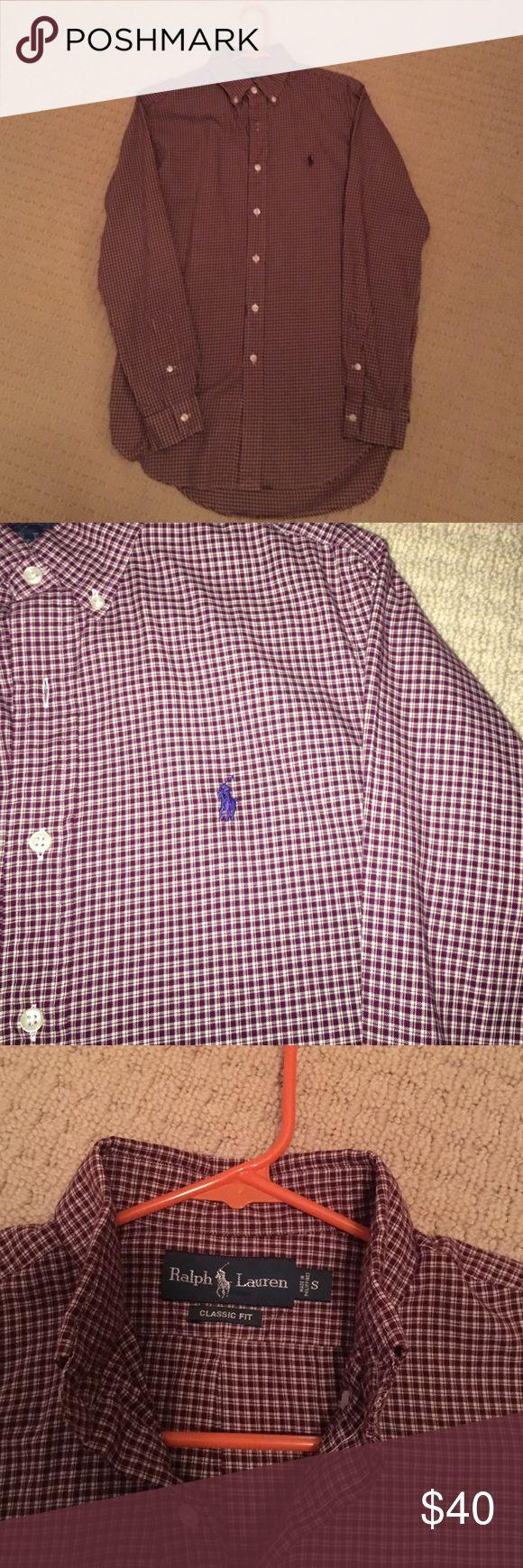 Men's Polo Ralph Lauren dress shirt Size S, dark red mini-plaid.  Great condition! Polo by Ralph Lauren Shirts Dress Shirts