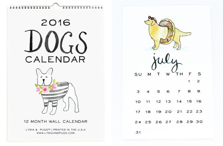 Dogs calendar from Lydia & Pugs