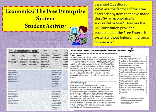 This lesson packet contains everything you need to conduct this lesson. Your students will learn the 7 features of the Free Enterprise System: Voluntary Exchange, Competition, Economic Freedom, Contracts, Self-Interest, Profit motive, and Private property. They will also examine excerpts from the US Constitution and Bill of Rights to understand how the government regulates the Free Enterprise System.