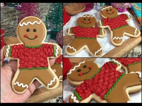 Christmas Gingerbread Man With Knit Sweater Cookie(How To)