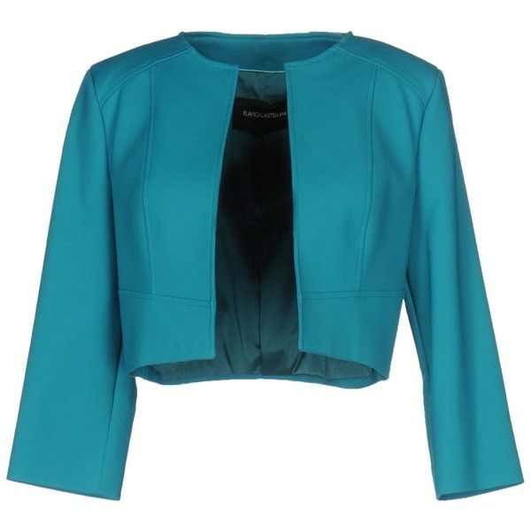 Flavio Castellani Blazer ($210) ❤ liked on Polyvore featuring outerwear, jackets, blazers, turquoise, blue jackets, turquoise blazer, blazer jacket, blue blazer jacket and 3/4 sleeve jacket