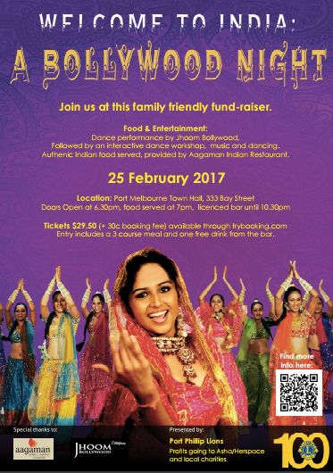 Port Phillip Lions, who are wonderful supporters of St Kilda Mums, will be hosting a Bollywood Night on Saturday 25 February to raise money for HerSpace and local charities. Tickets are $29.50, include a three course meal and entertainment, and can be booked here: https://www.trybooking.com/Booking/BookingEventSummary.aspx?eid=243679. Why not round up your friends for a great evening out with a difference!