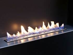 Flueless Gas Fire Burner. Open Flame Technology by CVO. No glass screeen, live open flame, designer contemporary fireplace, flueless fire, flueless fireplace, no chimney.