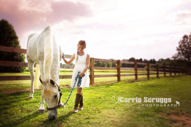 stormclouds and girl with horse
