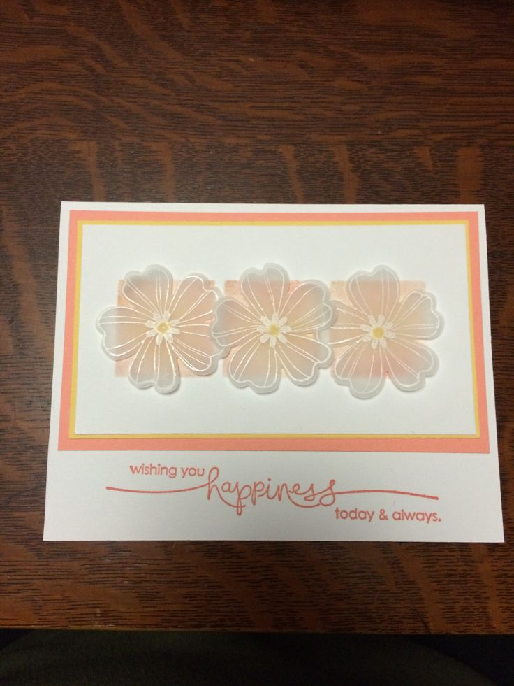 Wedding card using Flower Shop set from Stampin' Up with vellum flowers.