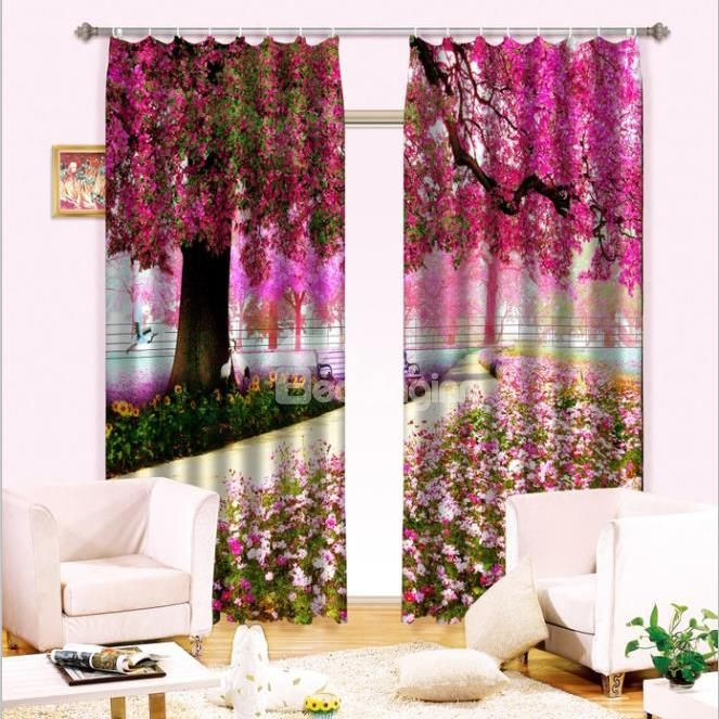 Romantic And Pastoral Style Red Leaves 2 Panels Custom Light Blocking 3D Curtain