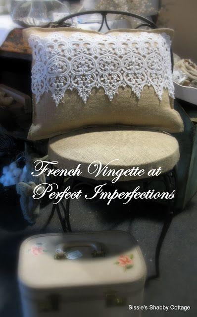 pretty-up a burlap pillow: just add beautiful lace