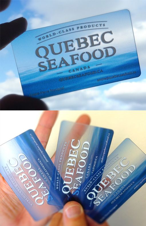 Beautiful Watercolour Effect On A Plastic Business Card For A Seafood Company