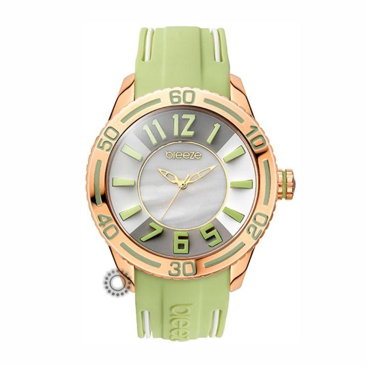 2013110191.8 Γυναικείο fashion ρολόι της BREEZE από τη σειρά Miami Twist με λαδί καουτσούκ και mother-of-pearl & γκρι καντράν. Αποστολή εντός 24 ωρών
