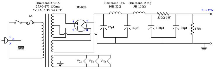 5u4 tube power supply schematic for se 6v6 amplifier