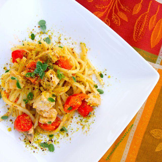 Pasta with Swordfish, Pistachio & Tomato