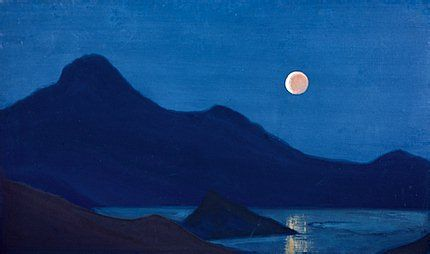 Eclipse 1939. Tempera on canvas. 46 x 78 cm Museum of Oriental Art, Moscow Nicholas Roerich