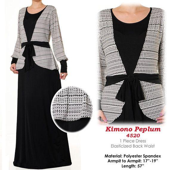 B&W Kimono Style Abaya Long Sleeves Islamic Maxi by MissMode21, $34.00