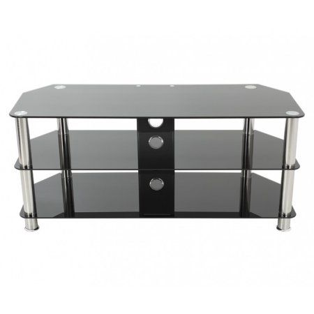 avf classic corner glass tv stand with cable management for up to 50 inch black
