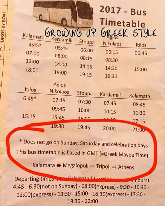 Timetable for greek bus. FOR REAL