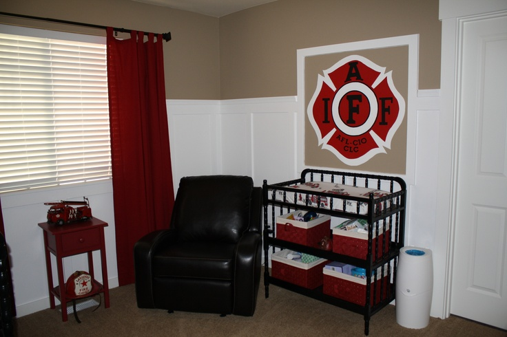 Perfect color combination for his firefighting room! I've been looking for an example to show Michael...