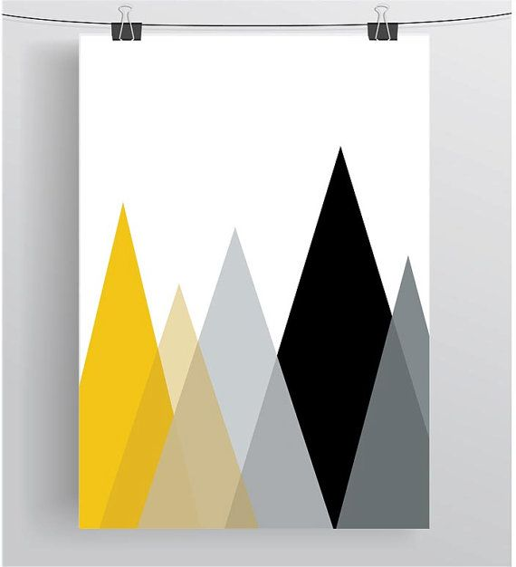 YELLOW MUSTARD GREY GEOMETRIC BACKGROUND CANVAS WALL ART PRINT ARTWORK STAG FULL